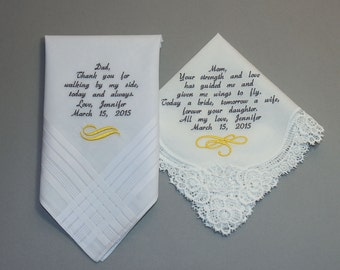 Wedding Handkerchiefs Set of Two Personalized Embroidered to Mother of the Bride & Father of the Bride (Monogram / Custom #5071)