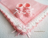 Knitted baby blanket with fleece lining and booties, Christening Blanket for Boy and Girl