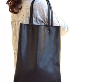 Black Leather Tote, Soft Leather Bag, Women Bag