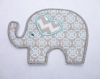 Elephant Iron On Patch, Gray (Grey) and Light Blue Elephant Patch
