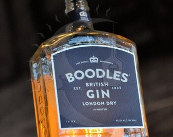 Recycled Boodles Gin Bottle Hanging Pendant Lamp with vintage light bulb