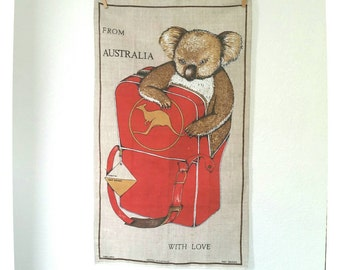 Australia koala bear vintage souvenir tea towel - kitchen linen