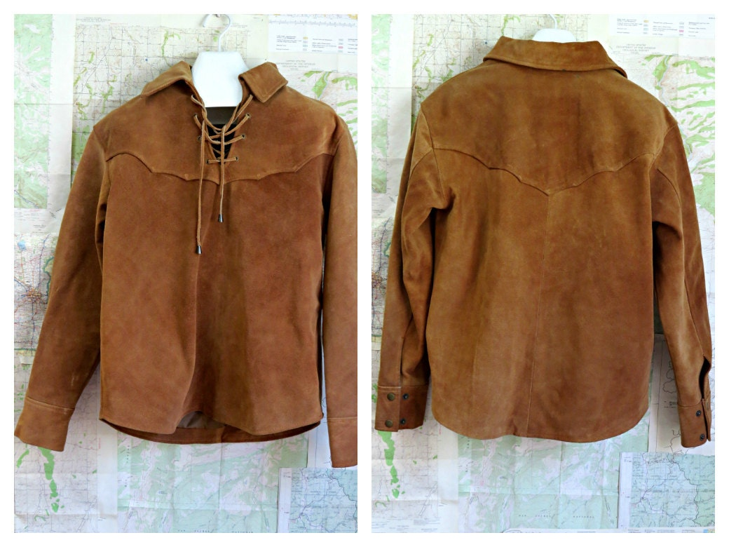 Vintage men 39 s leather pullover shirt unisex for Pull over shirts for mens