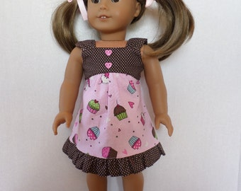 Pink and brown summer  cupcake  dress fits American girl 18 inch doll clothes