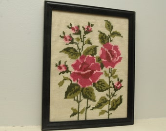 Vintage Red Roses Needlepoint
