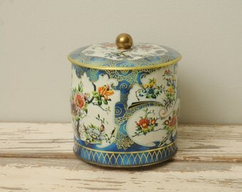 Vintage Tin with Lid Floral England