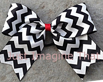 """2.25""""x6""""x6"""" Cheer Bow Black and White Glittered Chevron Your Center Choice"""