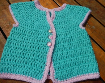 sweet little crocheted baby sleeveless top green and pink newborn
