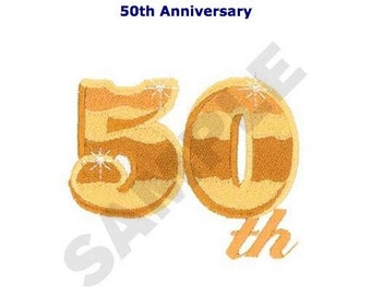 50th Anniversary Embroidery Design for Quilt or Pillow Sham