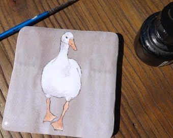 Goose ceramic coaster - high quality hand crafted gift - singles or set of handmade ceramic coasters