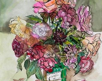 """Roses Maclean Green giclee 14 1/2 x 21 1/2 """""""