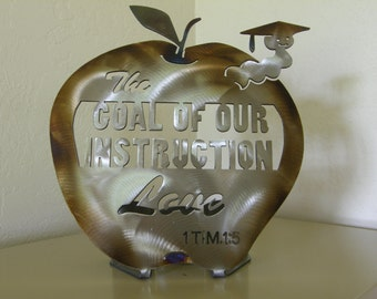 Teacher's Apple Metal Tabletop Sculpture