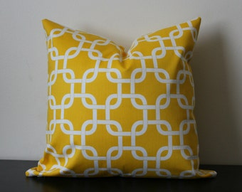 Decorative Throw Pillow, Yellow and White PillowCover, Toss Pillow, Accent Pillow, 18x18, 20x20, Bedroom Pillow
