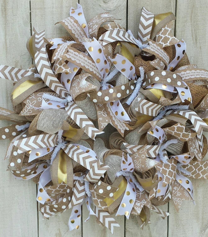 Burlap Wreath Wreath With Gold And White Burlap Door Wreath