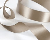 "Taupe Ribbon. Double Face Satin, 1.5"" wide, 3.00 per yard. Taupe Wedding Sash, Taupe Bridal Belt. Crafts, decor."