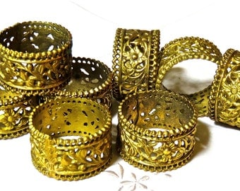 Napkin Rings Ornate Brass, Set of 8 Made in India, BLING Table Setting