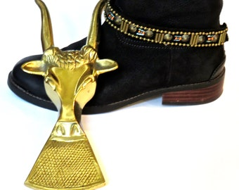 Brass Boot Jack Long Horn Steer, Boot Pull, Brass Shoe Jack, Western Decor