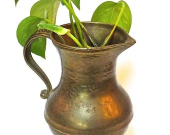 Solid Brass Pitcher, Boho Vase, Eclectic Design, Timeless Beauty