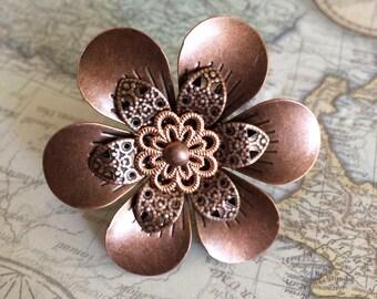 Copper Steampunk Flower Ring