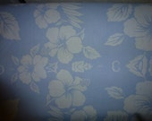 "One Yard of Vintage  Cotton Fabric Light Blue and White Floral Hawaiian Themed Quilt Cotton By Sherry Fran Inc. Large Print  58"" Wide"
