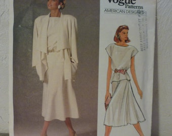 Vintage Vogue Pattern 1387  Misses' Jacket,  Skirt and Top  Size 8