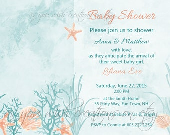 Baby Shower Invitation Sea Shells - Vintage Watercolor Chic Baby Shower Invite Starfish Shells Coral Elegant Girl - Ocean Baby Shower Invite
