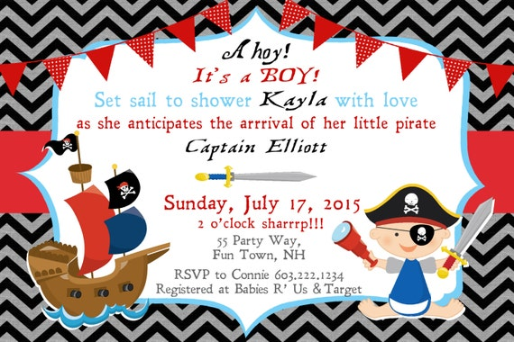 Pirate Baby Shower Invitation Boy Invitation Pirate Shower