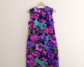 Vintage Hawaiian Floral Sheath Dress / Purple, Pink, Turquoise Tropical Flower Wiggle Dress / Mod Dress / - 1960s