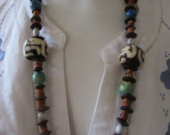 BOHO NECKLACE handpainted beads African retro hippy vintage natural