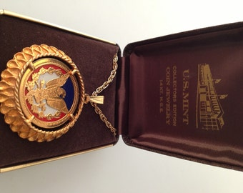 1970s Vintage BICENTENNIAL Pendant Necklace Collector's Edition Gold Eagle Red White & Blue Enamel PatrioticNew Old Stock MIB U.S.Mint