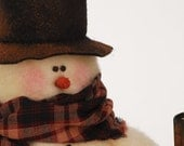 Christmas in July SALE In the Meadow, Snowman Scene, Christmas Vinette