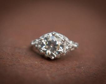 Antique Engagement Ring.-  Art Nouveau Ring - Victorian Engagement Ring