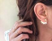 ear jacket: gold stud earrings, ear jackets- gold plated ear jackets, pair of gold earjackets