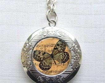 Locket, Altered Art Locket, Butterfly Jewelry, Butterfly Pendant, Photo Locket