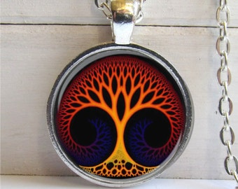 Whimsical Tree Art Pendant , Silver And Glass Necklace, Unique Tree Pendant