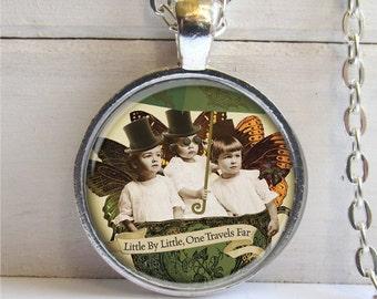 Steampunk Fairy Art Pendant, Steampunk Necklace, Victorian Fairy Pendant