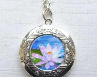 Locket, White Lotus Necklace, Locket Necklace, Lotus Flower Pendant, Yoga Jewelry
