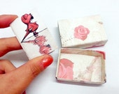 LOVE card baby in the rain matchbox and NOTEBOOK miniature book scrapbook sheets white paper