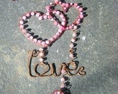 Hearts and Love Wall hanging Copper Wire with Glass Beads in Pinks  perfect lovers present can be personalized