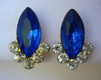"Sapphire Rhinestone Earrings Vintage Blue Marquise Cut Clear Gold Tone Metal Screw Back 3/4"" Long Hollywood Regency 1950s 60s Formal Bridal"