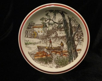 Vintage Americana Plate The Old Mill, Bits of the Old South by Cavett and Vernon Kilns