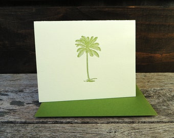 Coconut Palm Tree Letterpress Card