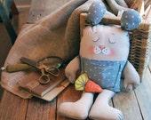 bunny rabbit painted art doll - soft sculpture