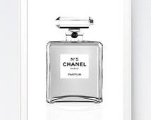 Chanel Printable, Minimalist Chanel Poster, Illustration Wall Art, Instant Download Print, Fashion Art, Chanel Nº 5 Print, INSTANT DOWNLOAD