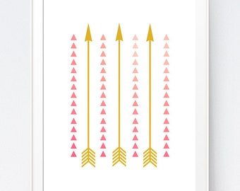 Pink Gold Arrows Wall Art, Gold and Pink Aztec Wall Print, Coral and Gold Triangle Wall Art, Gold And Coral Triangle, INSTANT DOWNLOAD