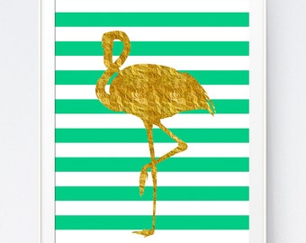 Flamingo, Flamingo Print, Flamingo Art, Flamingo Wall Art, Green Mint, Gold and Mint, Gold and Green Animal, Gold Print, INSTANT DOWNLOAD