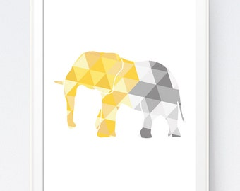Elephant Wall Art, Yellow and Gray Geometric Elephant Print, Elephant Wall Art, Elephant Triangles, African Gray Animal, INSTANT DOWNLOAD