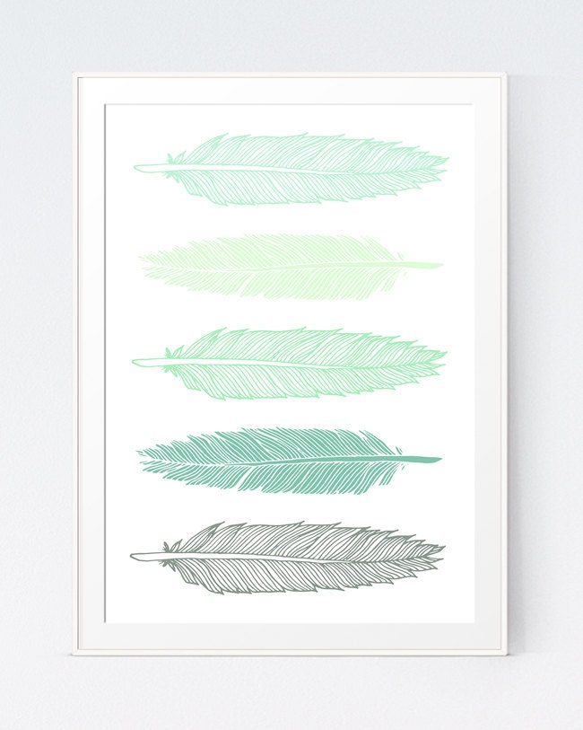 Wall Decor Green : Feathers print mint green wall art modern