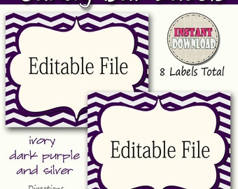 Candy Buffet Labels  Chevron Purple, silver Print EDITABLE Card, Candy, Popcorn, Snack, Ice Cream, Cookie Buffet Labels, Instant Download