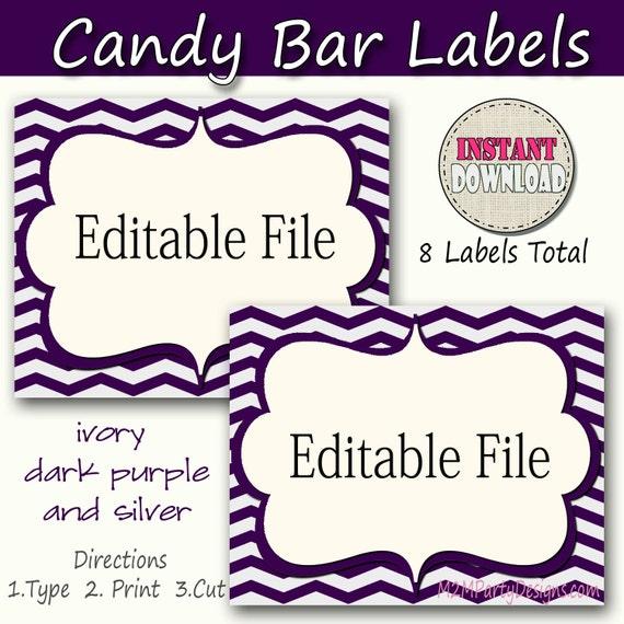 Candy Buffet Labels Chevron Purple silver Print EDITABLE